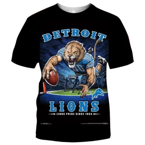 Detroit Lions Football Black T-shirt (#K70)