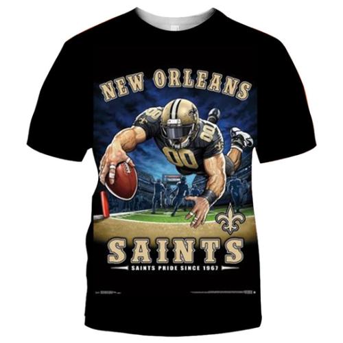 New Orleans Saints Football Black T-shirt (#K65)