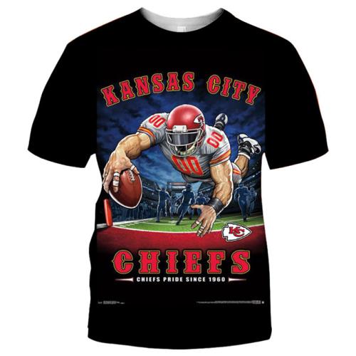 Kansas City Chiefs Football Black T-shirt (#K84)