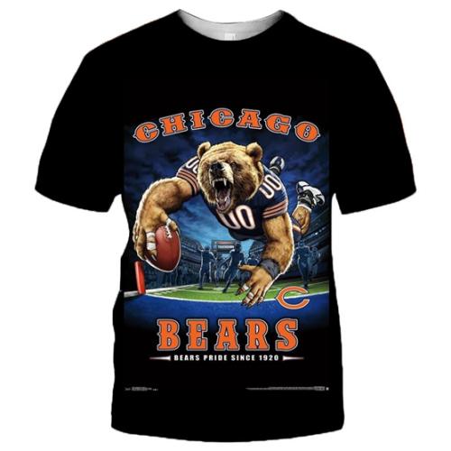Chicago Bears Football Black T-shirt (#K69)