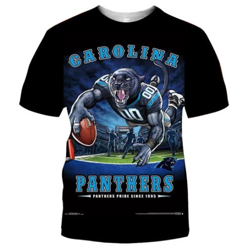 Carolina Panthers Football Black T-shirt (#K62)