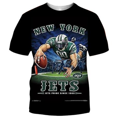 New York Jets Football Black T-shirt (#K80)