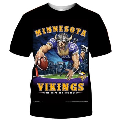 Minnesota Vikings Football Black T-shirt (#K74)