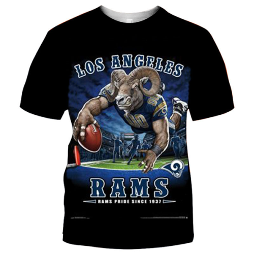 Los Angeles Rams Football Black T-shirt (#K67)