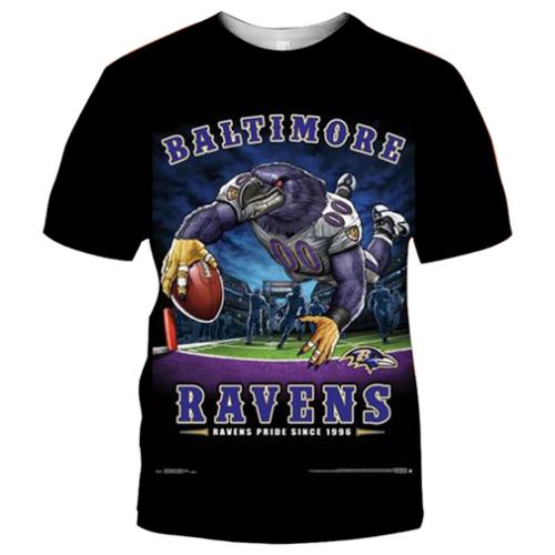 Baltimore Ravens Football Black T-shirt (#K85)