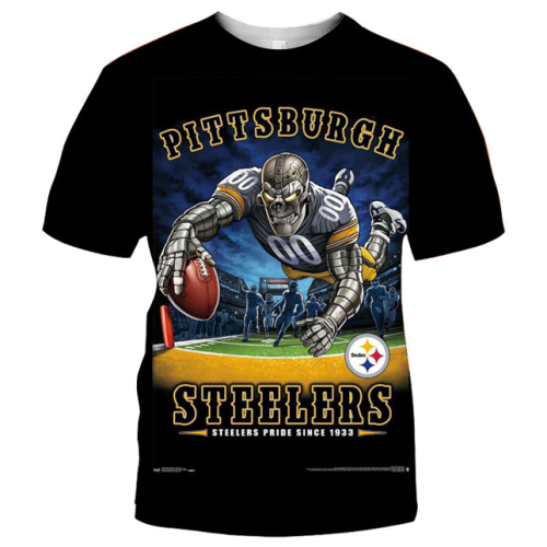 Pittsburgh Steelers Football Black T-shirt (#K58)
