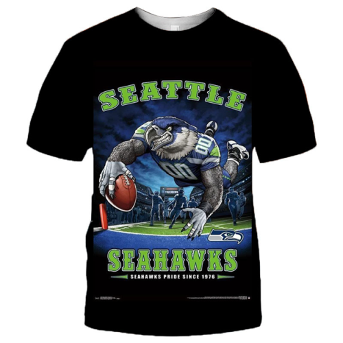 Seattle Seahawks Football Black T-shirt (#K72)