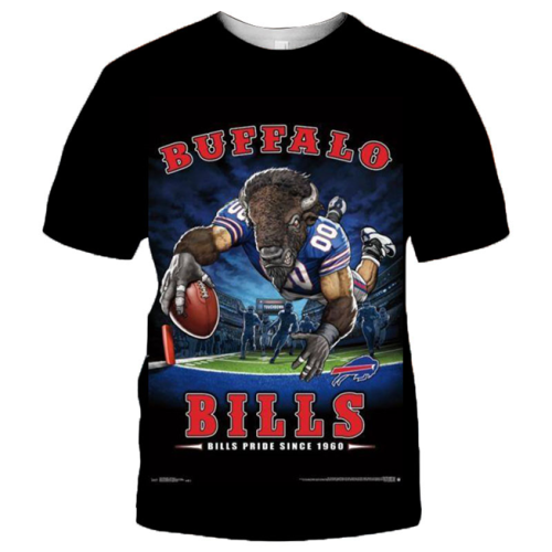 Buffalo Bills Football Black T-shirt (#K75)