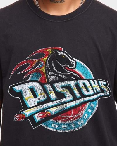 Detroit Pistons Unisex Oversized Logo Vintage T-Shirt (#U76)