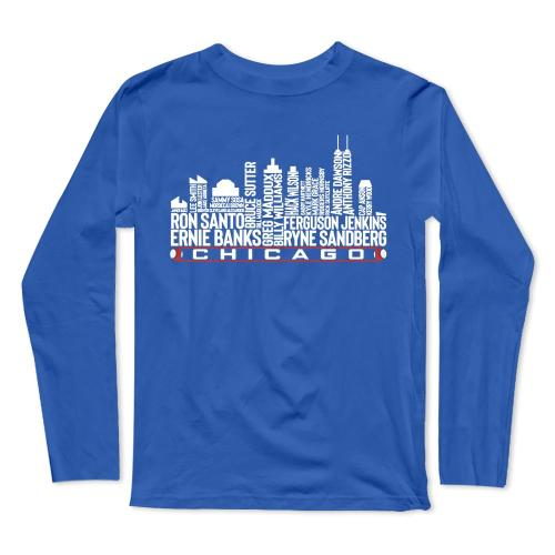 The legends Chicago city skyline Baseball Long Sleeve T-Shirt(#0F30)