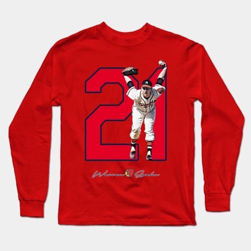 Warren Spahn Baseball Long Sleeve T-Shirt(#0F05)