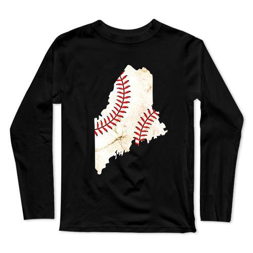 Maine Baseball Long Sleeve T-Shirt(#0F38)