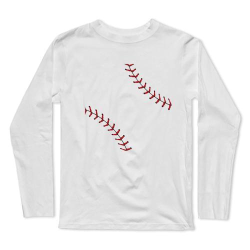 Baseball Ball Laces Long Sleeve T-Shirt(#0F28)