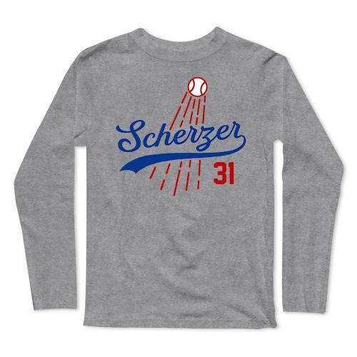 Max Scherzer Baseball Long Sleeve T-Shirt(#0F41)