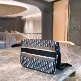 Dior Embroidered Knitted Canvass Postman Bag 33*14