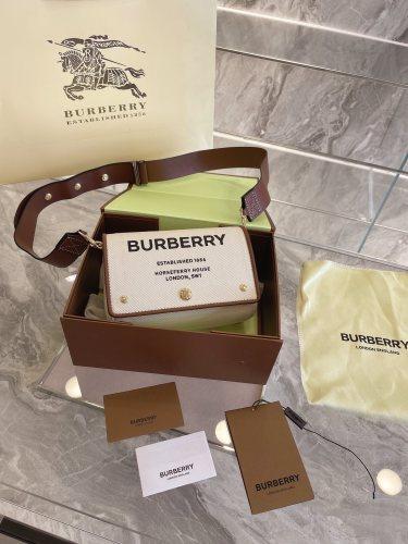 Burberry trumpet Horseferry canvas postman bag flip slung wide shoulder strap letter bag 17cm