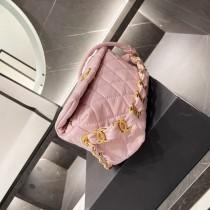 CHANEL hobo sheepskin fold pink 11*19