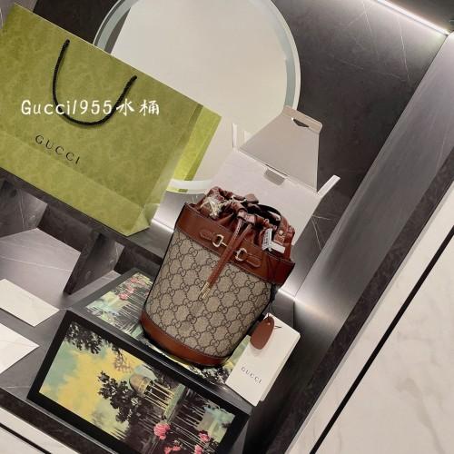 Gucci ♥Gucci bucket bag latest series, with original ebony cowhine ~