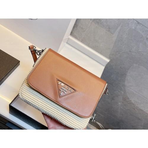 Prada blast advanced braided square bag new, simple lines, soft bag body