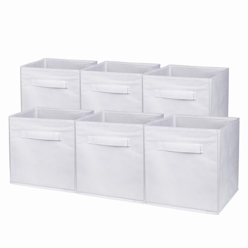 6 Pack Simple Houseware Foldable Cloth Storage Cube Basket Bins Organizer (11'  H x 10.75'  W x 10.7