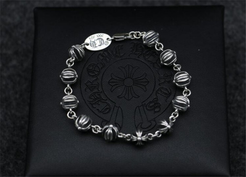 CHROME HEARTS 925 Silver Hollow Bead Bracelet CHB007