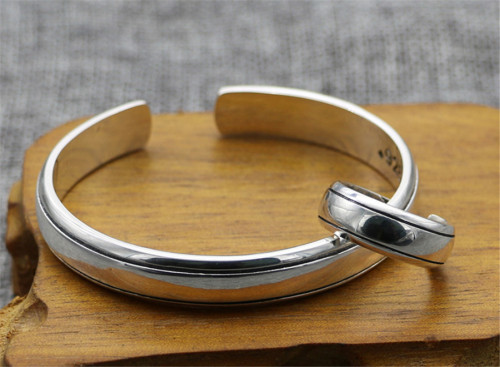 Chrome Hearts Bangle OPEN / Ring Mirror CHT046 Solid 925 Sterling Silver