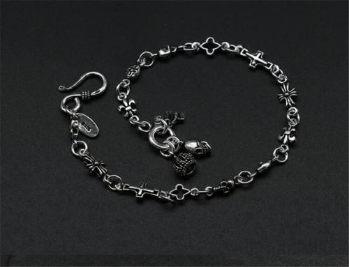 CHROME HEARTS Punk Style Cross Sterling Silver Bracelet CHB004