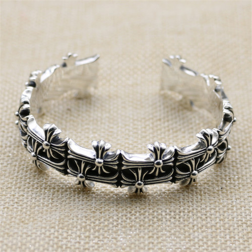 Chrome Hearts Bangle OPEN  CH CROSS CHT045 Solid 925 Sterling Silver