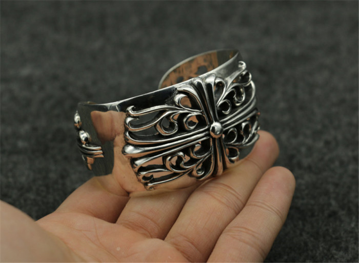 Chrome Hearts WIDE Bangle Open KEEPER CHT059 Solid 925 Silver