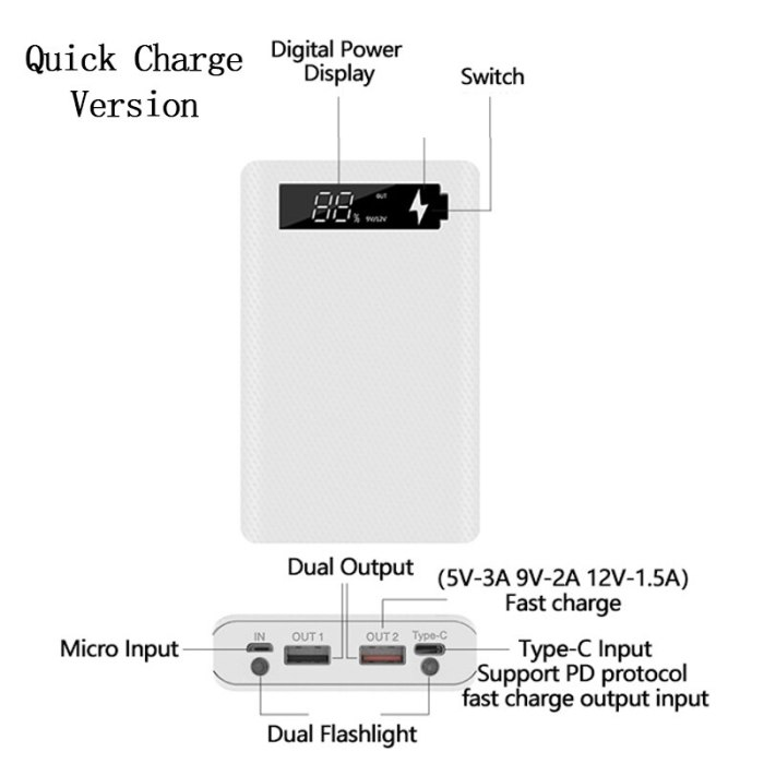 Quick Charge Version 6*18650 Power Bank Case Dual USB Mobile Phone Charge QC 3.0 PD DIY Shell 18650 battery Holder Charging Box