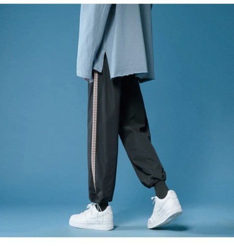New Hong Kong style sports pants men's loose-fitting Korean version of the straight and thin all-match wide-leg cropped trousers