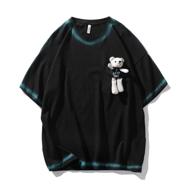 Summer plus size European and American fashion brand bear graffiti top