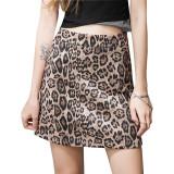 豹紋半身裙子2021新款秋冬高腰迷你裙一步包裙a字短裙歐美包臀裙