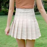 半身裙女夏季2021新款韩版高腰显瘦百搭防走光a字格子百褶裙短裙