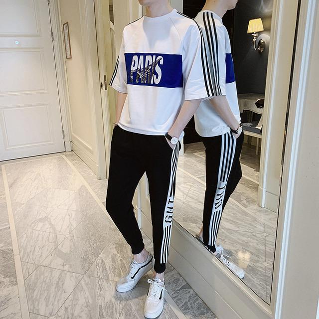 夏季運動套裝男2021新款時尚潮牌印花男裝寬松嘻哈情侶休閑兩件套