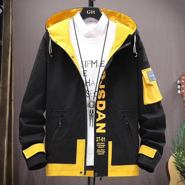 工裝夾克男2021春秋韓版新款時尚潮流拼色男裝青年帥氣連帽外套男