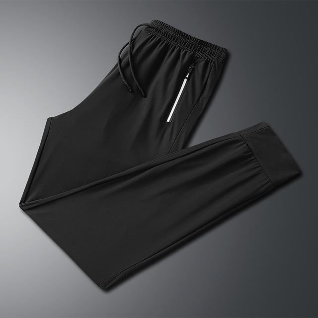 冰絲褲男夏季薄款絲滑透氣潮流男褲子速幹彈力純色男士休閑空調褲