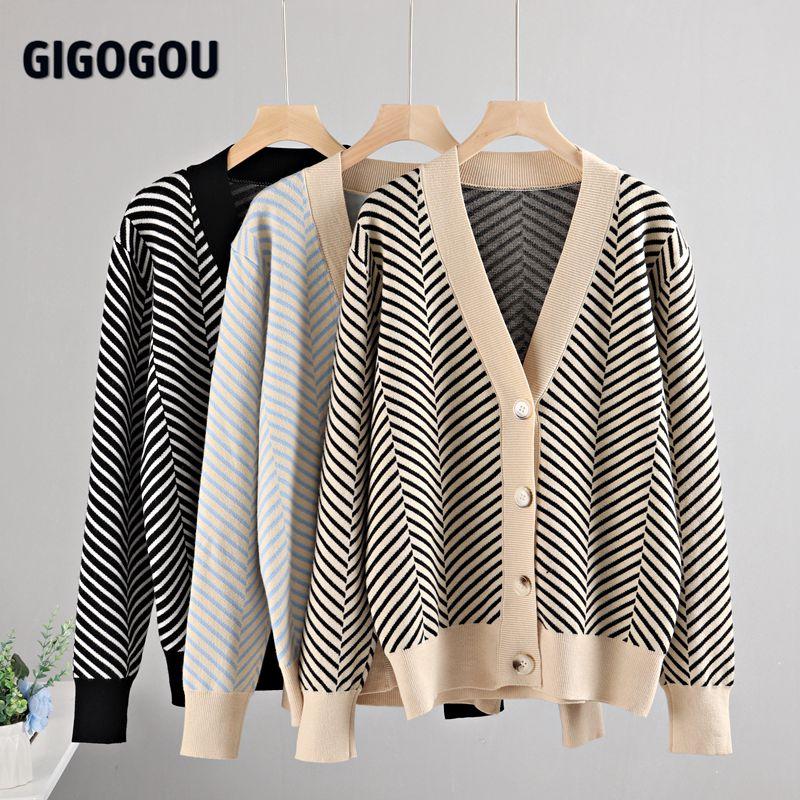 GIGOGOU Single Breasted V Neck Women Button Black Christmas Tree Cardigan Sweater Knitted Loose Oversized Jumper Top Jacket Coat