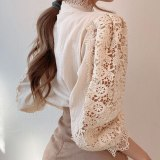 Petal Sleeve Stand Collar Hollow Out Flower Lace Patchwork Shirt Femme Blusas All-match Women Lace Blouse Button White Top 12419