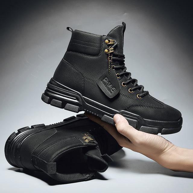 馬丁靴男2021年新款秋季英倫風中幫靴子透氣高幫鞋男士短靴工裝靴