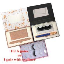 NEW 5 pairs Packing box for eyelash blank eyelashes package Marble Pink Color paper box clear tray Eyelashes DIY Custom logo box