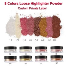 Custom Private Label 8 colors Makeup Loose Highlighter Powder Metal Shimmer Concealer Face Glow Cosmetics Highlighting Wholesale