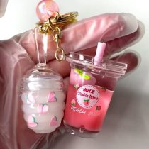 New Peach Moisturizing Lipgloss Fruit Scent Moisturizing Women's Keychain Lip Gloss Vegan Glitter Lip Gloss Set Vendor