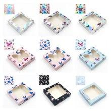 Wholesale square Lashes Boxes Butterfly Eyelash Packaging Box Laser Holographic Rectangle Box Empty Eyelash 25mm Lashes Case