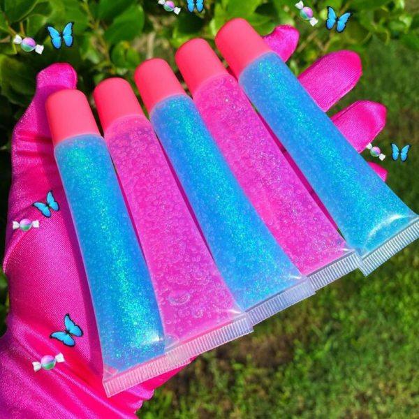 5PC Big Bling Lipgloss Base Private Label Maple Leaf Custom Fruit Vegan Glitter Natural Vendor Moisturizing Lip Gloss