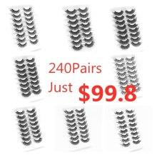 Wholesales 5D Mink Lashes Natural False Eyelashes Dramatic Fluffy Soft Wispy Volume Cross Reusable Eyelash MaKeup