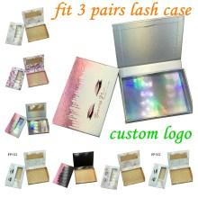 3-pairs Lash Boxes Wholesale Eyelash Packaging Newest 3-50 pcs Empty Lash Case  25mm Mink Lash Boxes Packaging