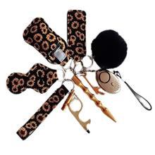 Drivworld keychain set accessories women cute sunflower chapstick lip balm holder keychains Ladies