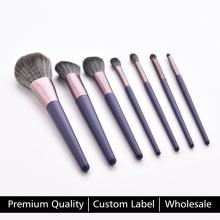 High Quality 7pcs Loose Powder Blush Foundation Eyeshadow Makeup Brushes Set Purple Blending Concealer Cosmetic kit Custom Label