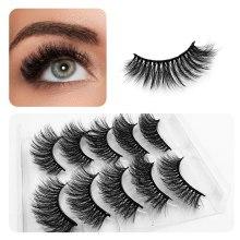 5 Pairs 3D Faux Mink Hair False Eyelashes Wispies Fluffies Drama Eyelashes Natural Long Soft Handmade Cruelty-free Black Lashes